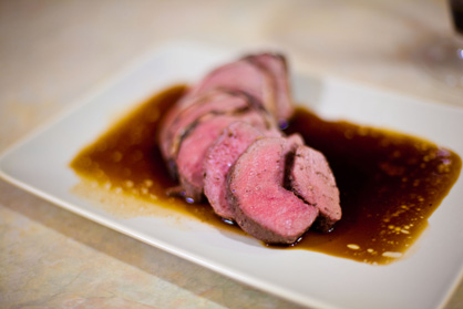 roast bacon-wrapped venison loin recipe